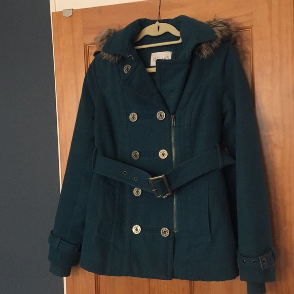 latest fashion best selling delicate colors Delias Teal Pea Coat